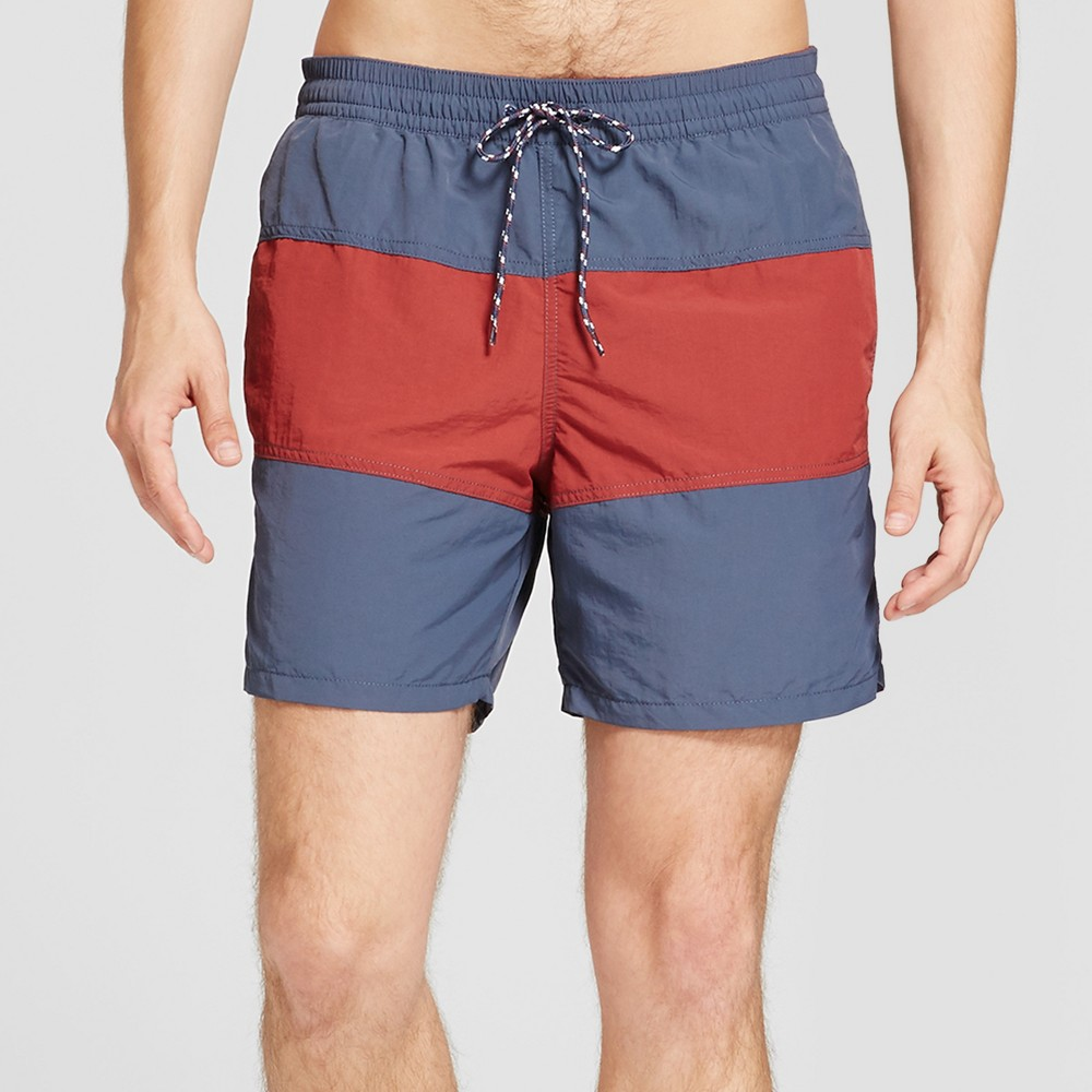 Men's 6 Elastic Waist Nylon Triple Panel - Goodfellow & Co Burgundy Colorblock XL, Red
