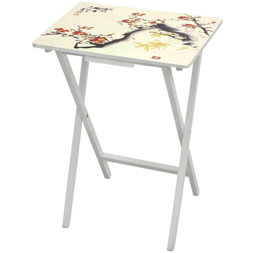 Image of Cherry Blossom TV Tray - Oriental Furniture, White