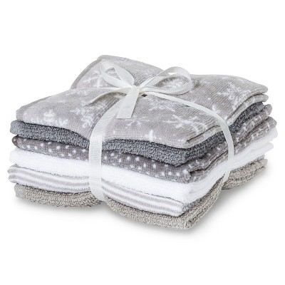 6pk Holiday Solid Washcloth Assorted Gray - Wondershop™