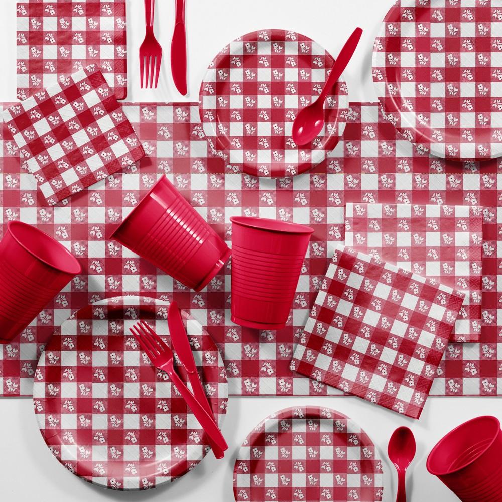 Image of Bulk Red Gingham Picnic Supplies Kit