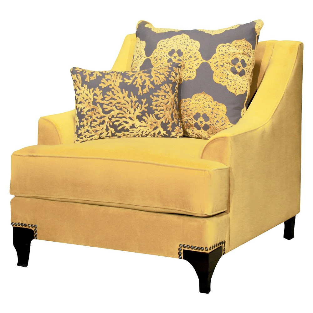 ioHomes Leanne Formal Upholstered Arm Chair in Gold