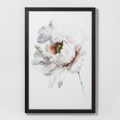 24  X 36  White Flower Wall Art with Black Wood Frame - Hearth & Hand™ with Magnolia