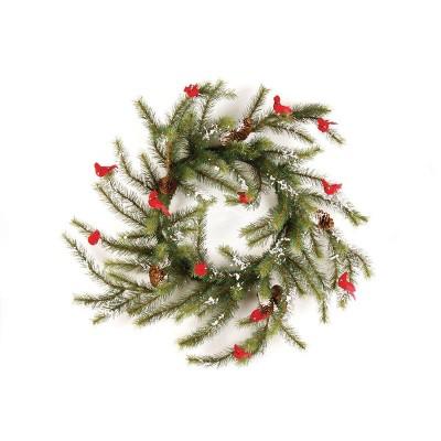 "Napa Home and Garden 24"" Unlit Snowy Cardinal Pine Artificial Christmas Wreath"