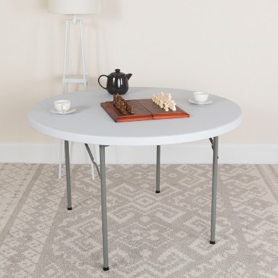 Flash Furniture 4-Foot Round Granite White Plastic Folding Table