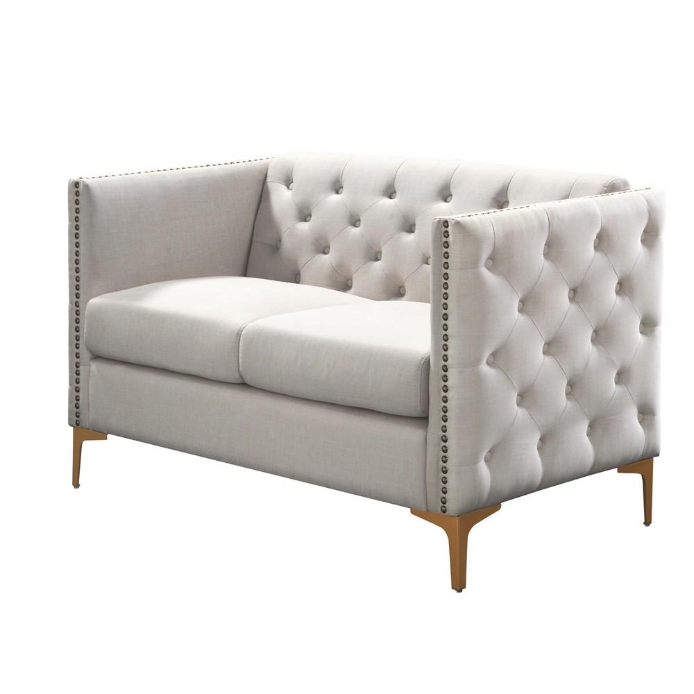Gasper Tufted Upholstered Loveseat Cream (Ivory) - Homes: Inside + Out