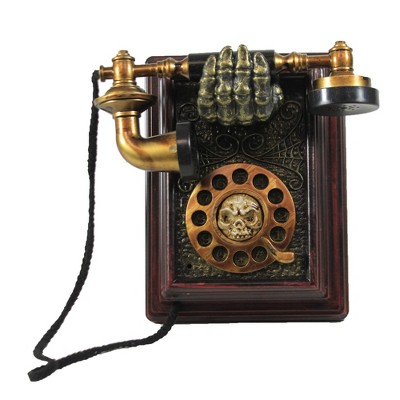 """Halloween 8.0"""" Telephone With Sound And Motion Skull Bones Wall Decor  -  Decorative Figurines"""