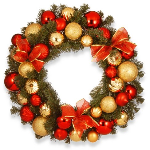 "30"" Red and Gold Ornament Wreath - National Tree Company - image 1 of 1"