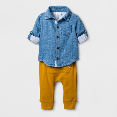Baby Boys' 2pc Collared Denim Long Sleeve Shirt and Kangaroo Pocket Jogger Set - Cat & Jack™ Blue 6-9M