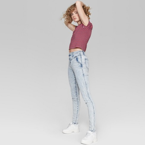 f673664db0a4d Women s High-Rise Button Fly Acid Wash Skinny Jeans - Wild Fable™ Light Wash
