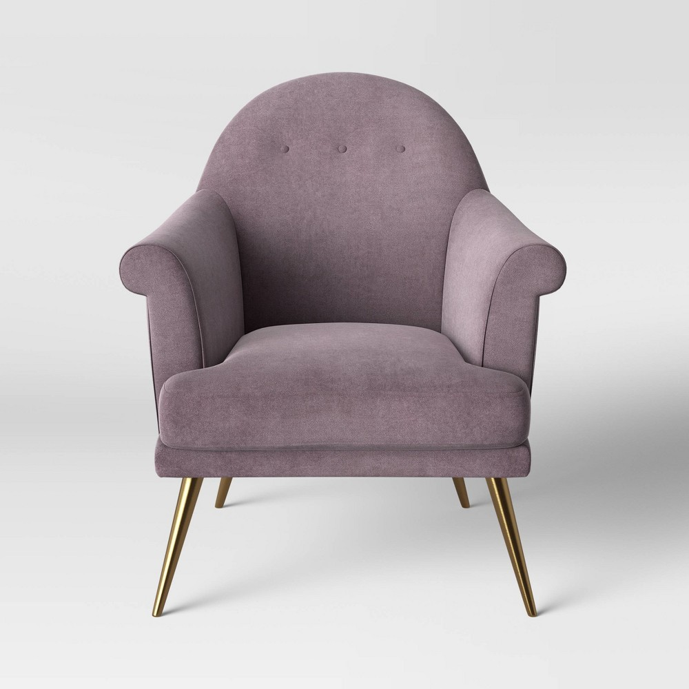 Myna Tufted Arm Chair with Brass Legs Lavender (Purple) - Opalhouse