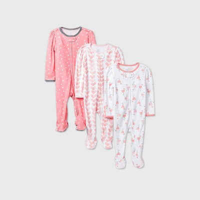 Baby Girls' 3pk Flamingo Parade Sleep N' Play - Cloud Island™ Pink 3-6M