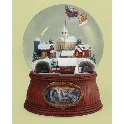 """Roman 7.5"""" Musical Santa Flying Over Town with Rotating Cars Decorative Christmas Glitterdome"""