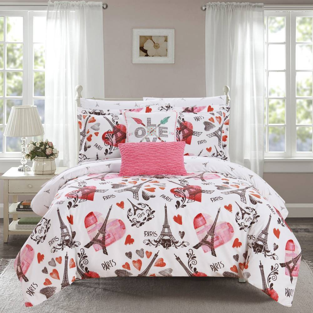 Chic Home Design Queen 9pc Marais Bed In A Bag Comforter Set Pink