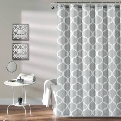 "72""X72"" Single Geo Shower Curtain Light Gray - Lush Décor"