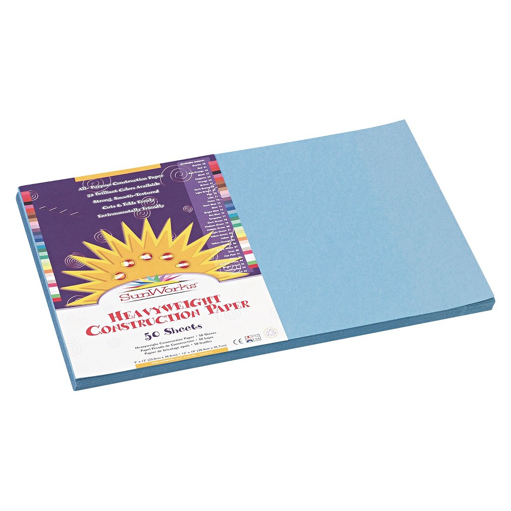 SunWorks Construction Paper, 58 lbs, 12 x 18 - Blue (50 Sheets Per Pack), Sky Blue