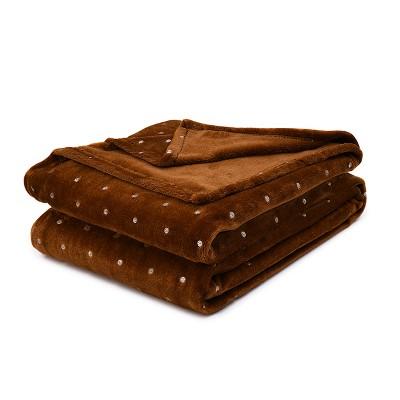 Metallic Polka Dot Ultra-Plush and Warm Fleece Blanket - Blue Nile Mills