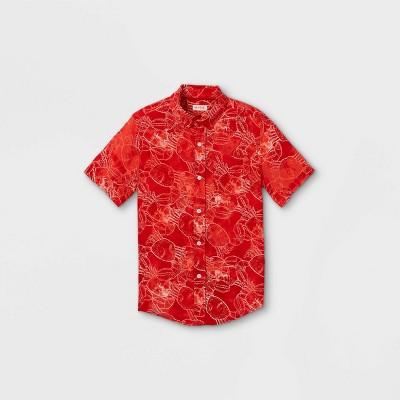 Boys' Button-Down Short Sleeve Shirt - Cat & Jack™ Red/Orange