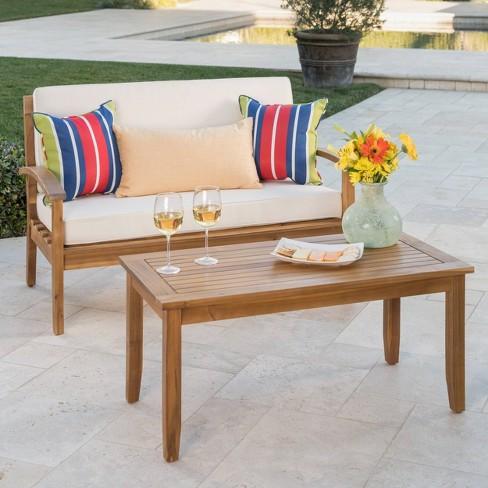 Pleasant Peyton 2Pc Acacia Wood Loveseat And Coffee Table Set Teak Beige Christopher Knight Home Evergreenethics Interior Chair Design Evergreenethicsorg