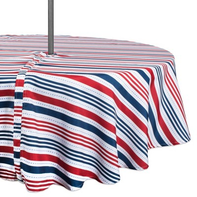 "52""R Patriotic Stripe With Zipper Tablecloth Blue/Red - Design Imports"