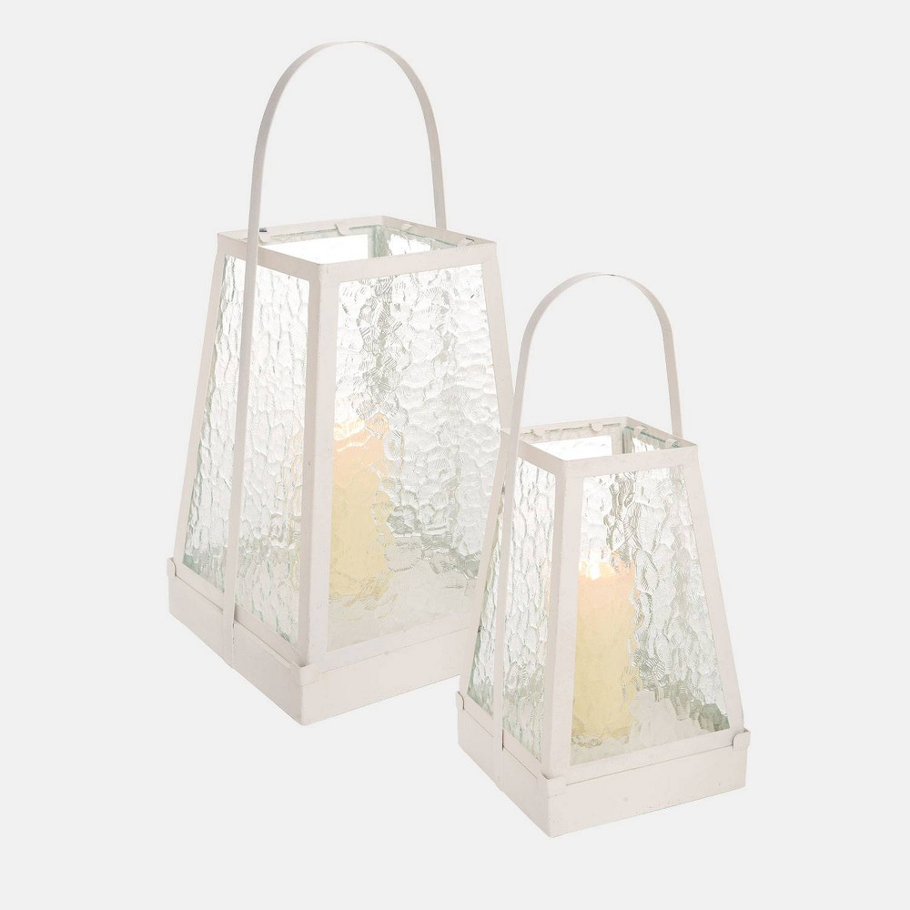 Image of Set of 2 Modern Cabin Outdoor Lanterns - Foreside Home & Garden, White