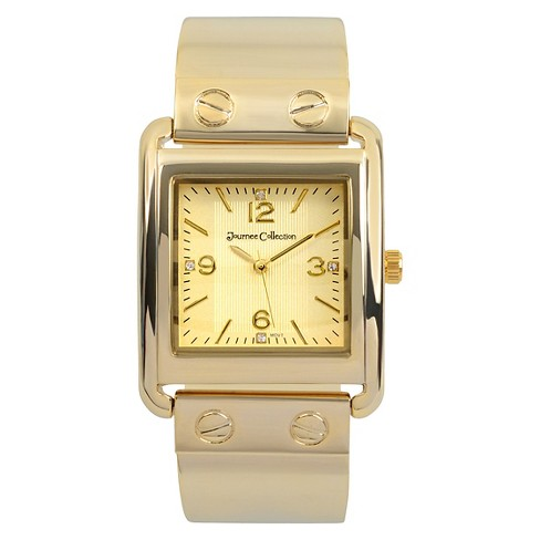 Women's Journee Collection Square Face Solid Metal and Link Watch - Gold - image 1 of 2