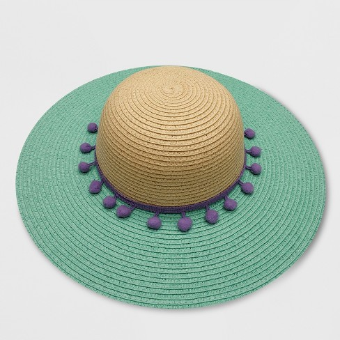 Baby Girls' Floppy Hat with Poms - Cat & Jack™ Turquoise 12-24M - image 1 of 1