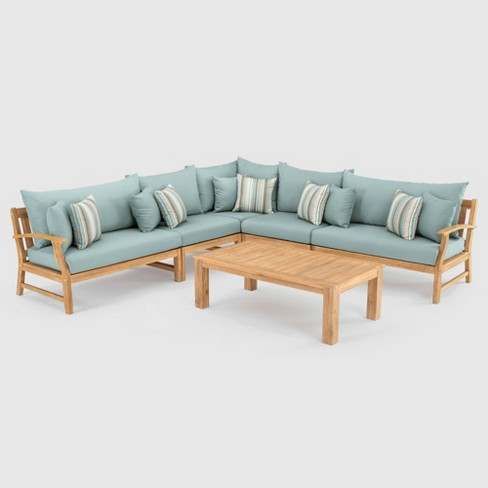 Kooper 6pc SolarFast Sectional Seating Set Blue  - RST Brands - image 1 of 4