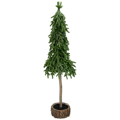 Northlight 29.5-Inch Downswept Iced Artificial Christmas Tree Wood Base - Unlit