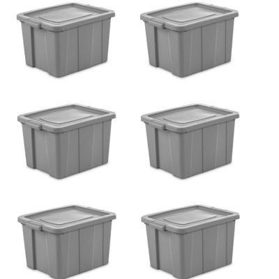 Sterilite Tuff1 18 Gallon Plastic Storage Tote Container Bin w/ Lid (6 Pack)