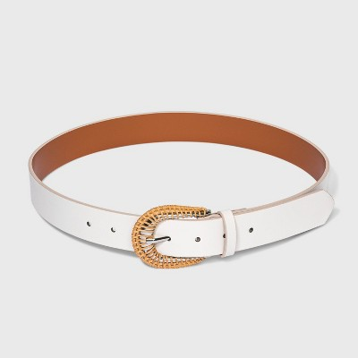 Women's Rattan Buckle Belt - A New Day™ Ivory