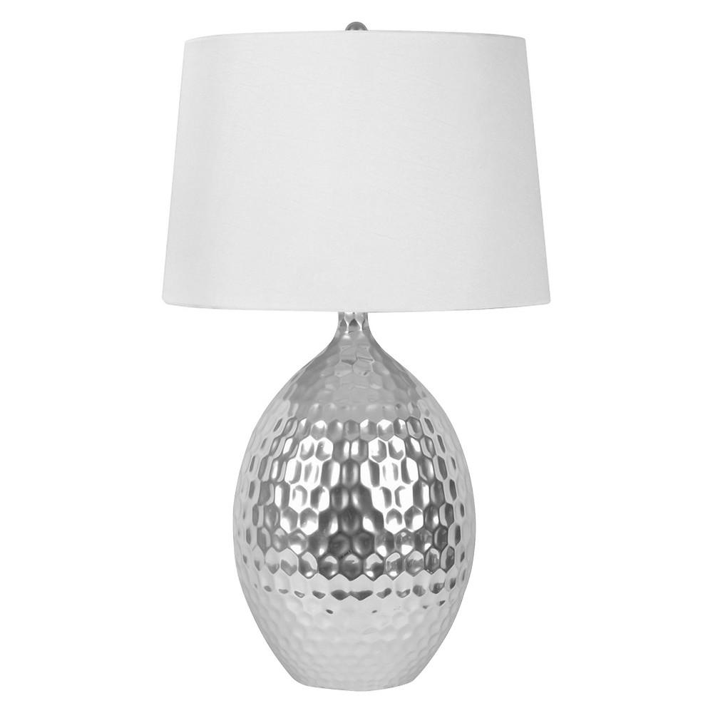 J. Hunt Silver Ceramic Table Lamp, Silver/White
