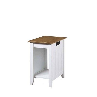 Edison End Table with Charging Station Driftwood/White - Breighton Home