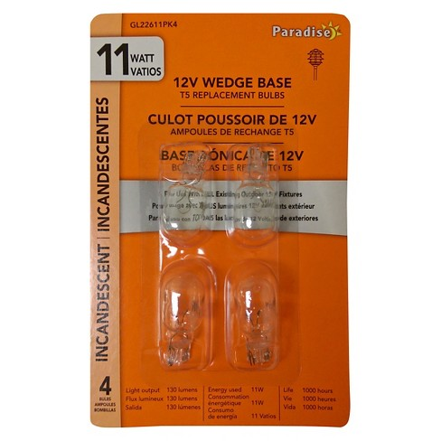 Paradise Garden 4 Pack 11W Wedge Bulb Clear - image 1 of 2