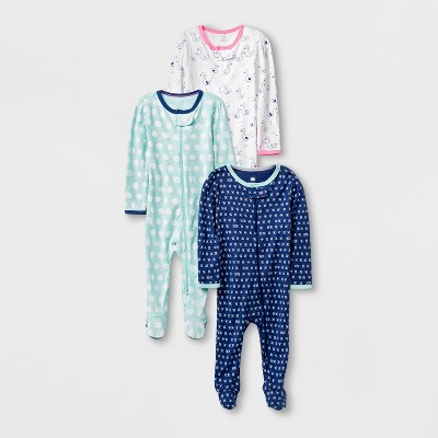 Baby Girls' 3pk Long Sleeve Footed Sleeper Set - Cloud Island™ Blue/White Newborn