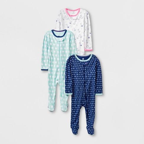 Baby Girls  3pk Long Sleeve Footed Sleeper Set - Cloud Island™ Blue ... 6390436f3