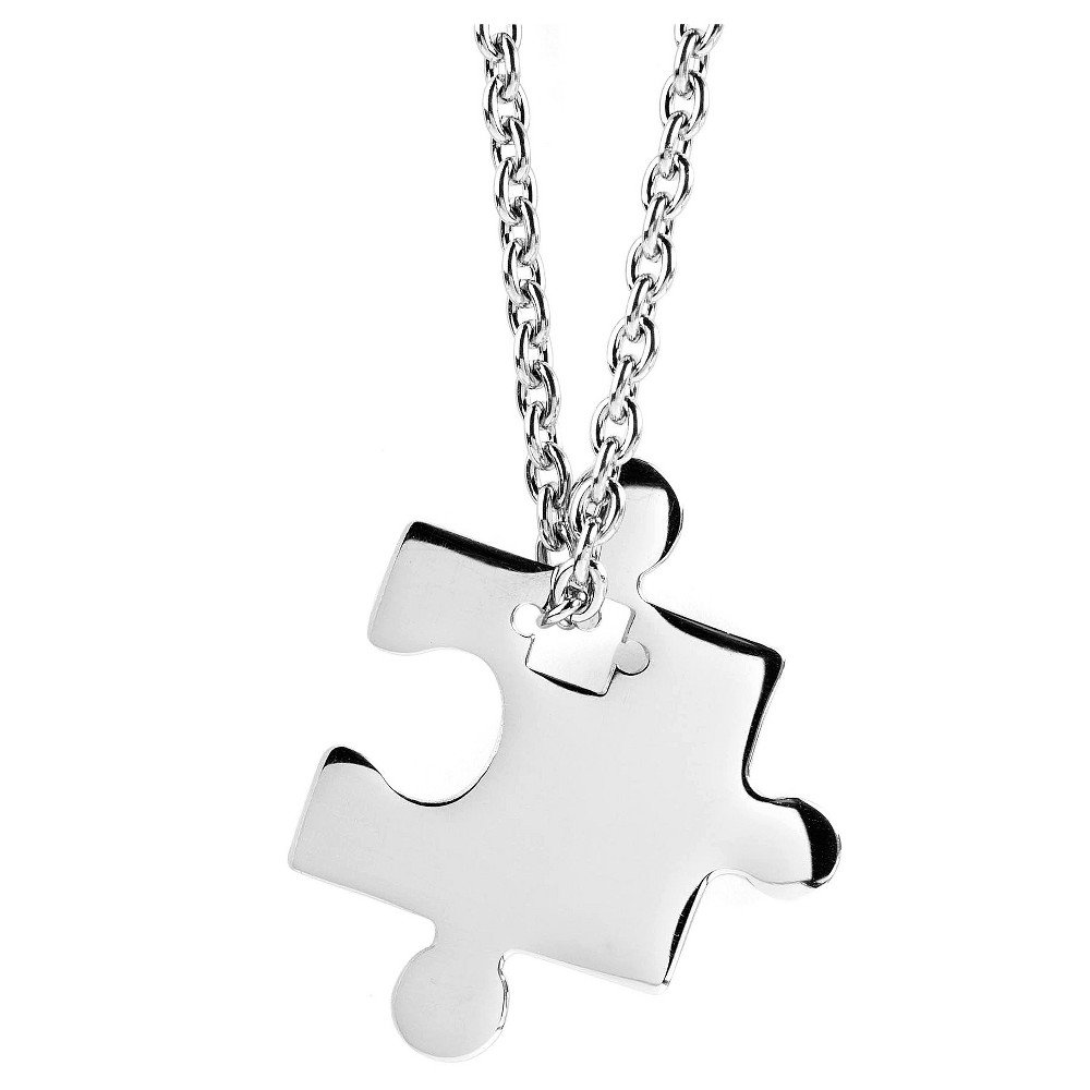 West Coast Jewelry Stainless Steel Jigsaw Puzzle Piece Pendant Necklace, Girl's, Silver