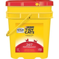 Purina Tidy Cats Clumping Cat Litter 24/7 Performance for Multiple Cats 35lb Pail
