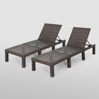 Jamaica 2Pk Wicker Chaise Lounge - Brown - Christopher Knight Home
