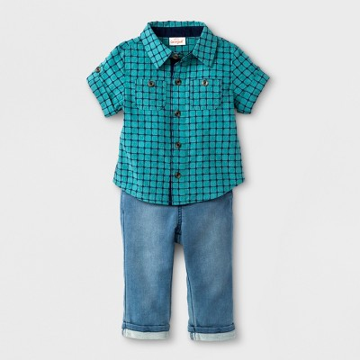 Baby Boys' 2pc Short Sleeve Button-Down Shirt and Knit Denim Set - Cat & Jack™ Green 0-3M