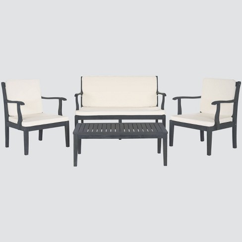 Montclair 4pc Acacia Wood Patio Conversation Set - Gray - Safavieh - image 1 of 4
