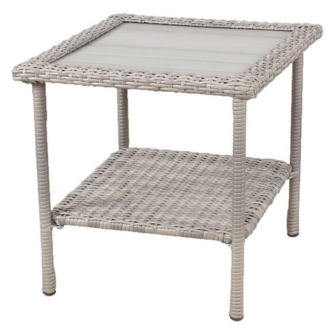Patio Wicker Side Table with Slat Top - Threshold™ - image 1 of 1