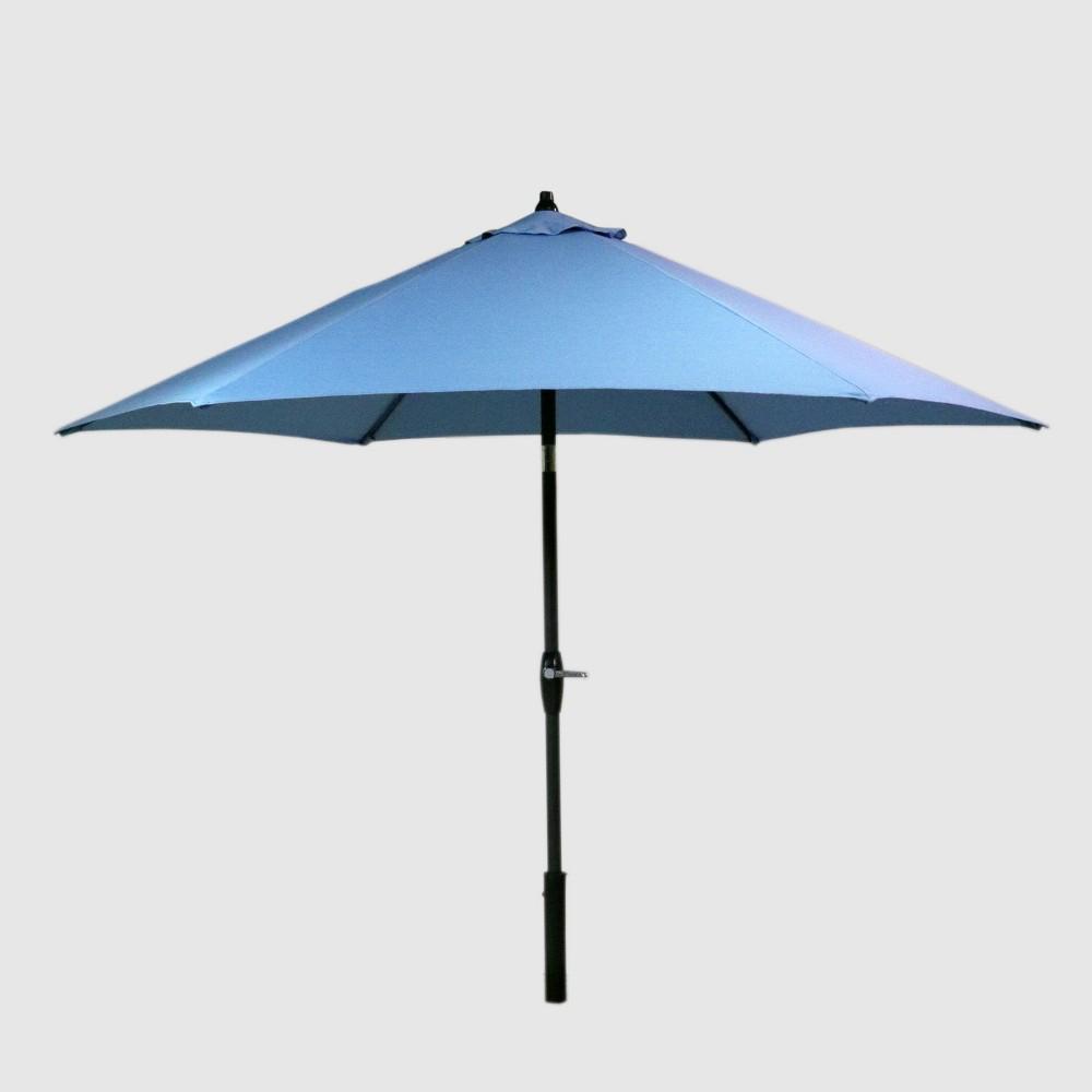 9' Round Patio Umbrella Ocean - Black Pole - Threshold , Blue