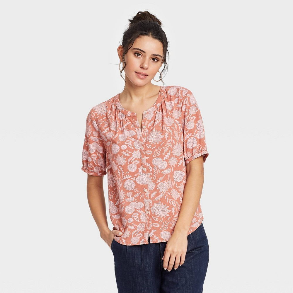 Women 39 S Floral Print Short Sleeve Tie Front Button Down Blouse Universal Thread 8482 Brown S
