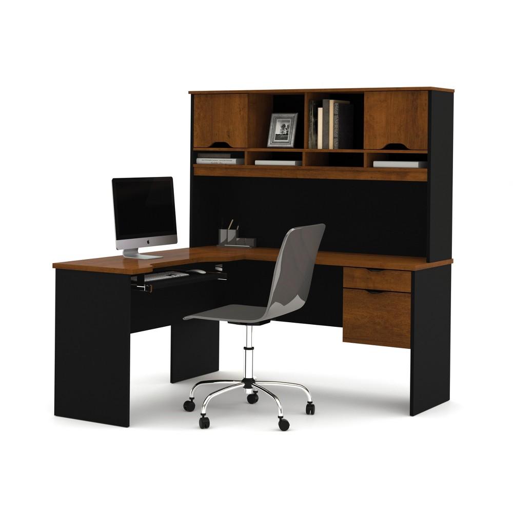 Innova L-Shaped Desk Tuscany Brown/Black - Bestar