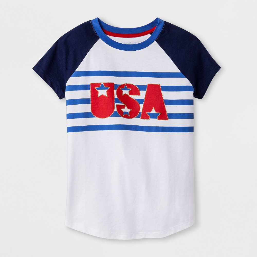 Girls' Short Sleeve Americana USA Graphic T-Shirt - Cat & Jack White XS