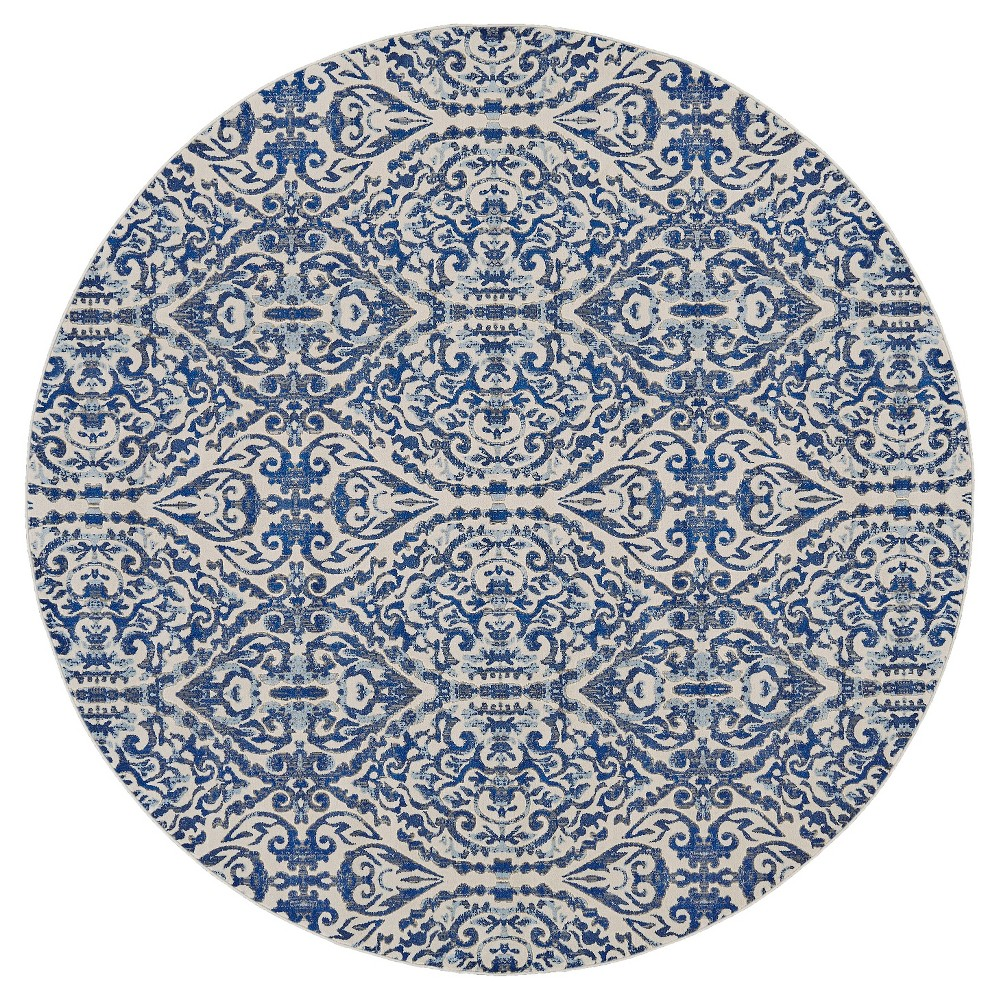 8'6 Round Geometric Loomed Round Runners Area Rugs Royal - Room Envy