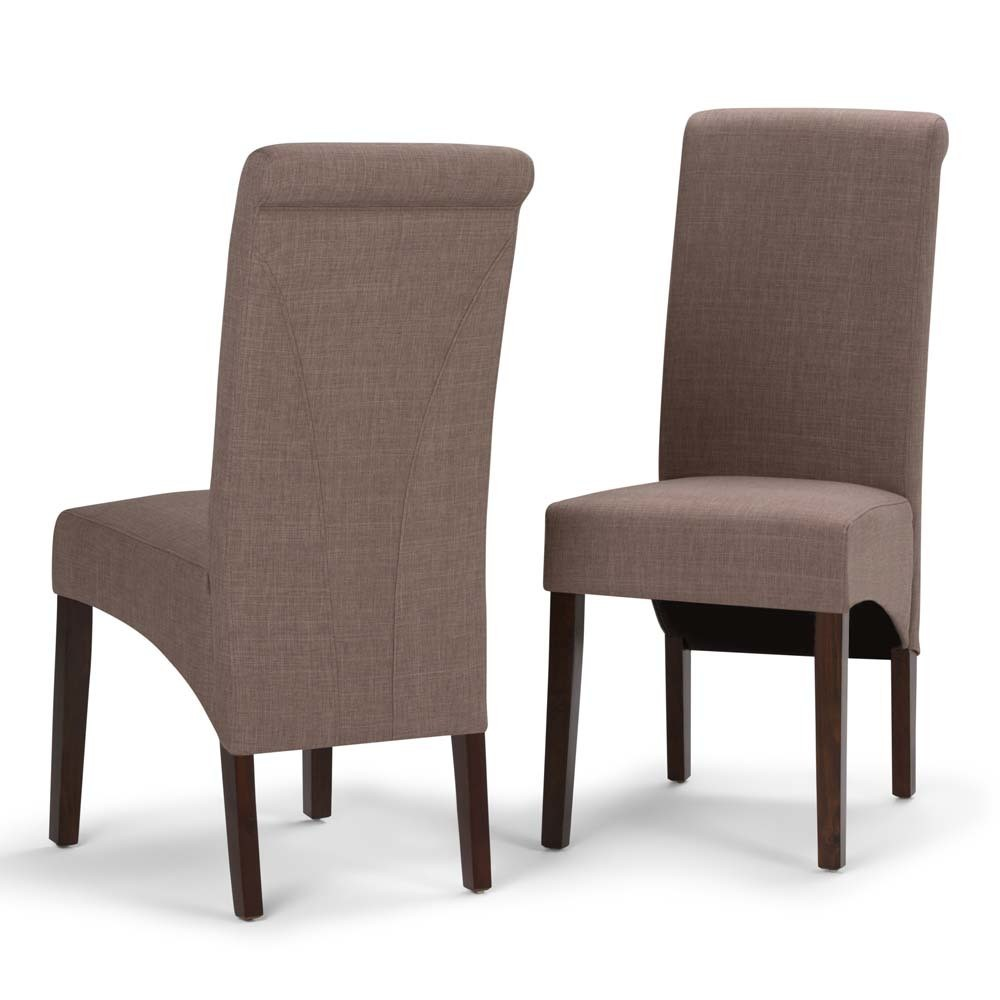 FranklDeluxe Parson Dining Chair Set of 2 Light Mocha Linen Look Fabric - Wyndenhall