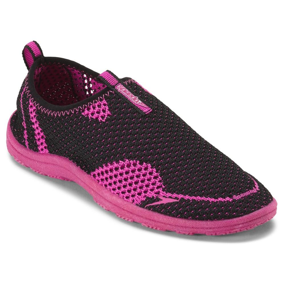 Speedo Jr Girls' Surfwalker Knit Water Shoes - Black/Purple (Small), Black Purple