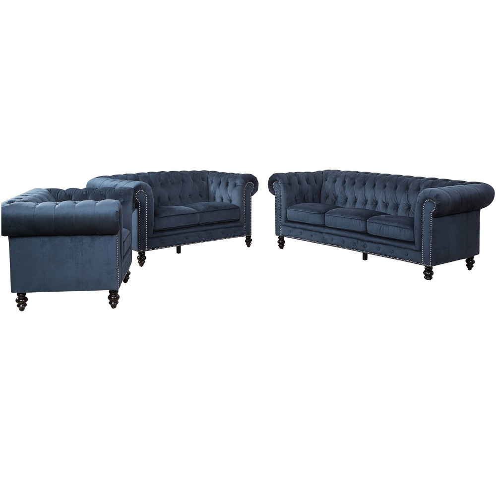 Image of 3pc Grand Wyatt Velvet Sofa Set Dark Blue - Abbyson Living