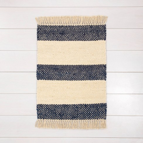 Jute Stripe Rug with Fringe Navy - Hearth & Hand™ with Magnolia - image 1 of 3